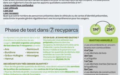 Recyparc apport journalier de matériaux jusqu'à 2m³