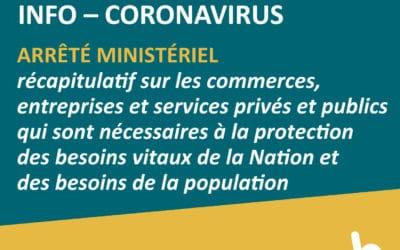COVID-19 – Arrêté ministériel du 25 mai 2020