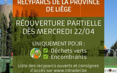 Réouverture des recyparcs à partir de ce mercredi 22 avril