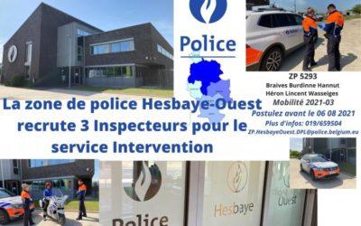 Recrutement inspecteurs de police – ZP Hesbaye-Ouest